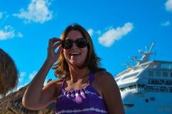 Lycklig turist i Cozumel Arkivfoton