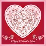 Lycklig typografisk bokstäver för valentindag på rosa bakgrund med den vita hjärtavektorillustrationen royaltyfri illustrationer