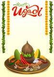 Lycklig Ugadi bokstävertext Fastställd ferietillbehör Kokosnöt socker som är salt, peppar, banan, mango vektor illustrationer