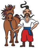 Lycklig ukrainsk kosack med en brun häst Arkivbild