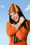 lycklig ullig hattkvinna royaltyfri fotografi