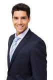 Lycklig ung affärsman Over White Background Fotografering för Bildbyråer