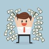 Lycklig ung affärsman som kastar upp pengar vektor illustrationer