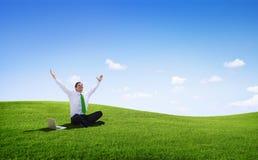 Lycklig ung affärsman Success i liv royaltyfri foto