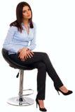 Lycklig ung affärskvinna i blå skjorta Fotografering för Bildbyråer
