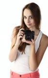 Lycklig ung fotograf royaltyfria bilder