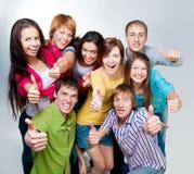 Lycklig ung grupp människor Arkivbilder