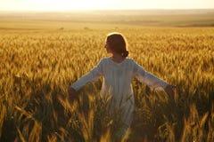 Lycklig ung kvinna bland fält på solnedgången Royaltyfri Bild