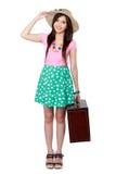 Lycklig ung kvinna som är klar att gå på semester Royaltyfri Foto