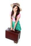 Lycklig ung kvinna som är klar att gå på semester Royaltyfria Foton