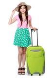 Lycklig ung kvinna som är klar att gå på semester Arkivfoton