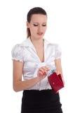 Lycklig ung kvinna som tar europengar från plånboken Arkivbilder