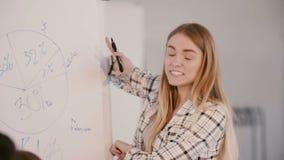 Lycklig ung kvinnlig marknadsföra sakkunnig lagledare som framlägger idéer som motiverar partners på det moderna ljusa kontor lager videofilmer