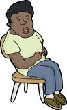 Lycklig ung man i stol royaltyfri illustrationer