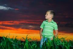 Lycklig ung manrest på grönt fält Arkivbilder