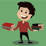 Lycklig ung pojke och många böcker Royaltyfri Foto