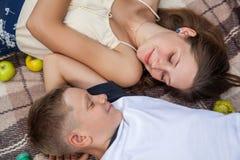 Lycklig ung syster och broder som poserar att ligga ner på plädet Fotografering för Bildbyråer
