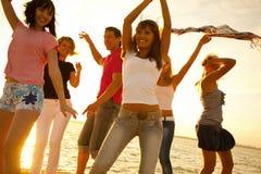 Parti på strand Arkivfoto