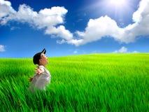 lycklig unge för fält Arkivfoto