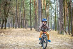 Lycklig ungepojke av 3 eller 5 år som har gyckel i höstskog med en cykel på härlig nedgångdag Bärande cykelhjälm för aktivt barn arkivfoton