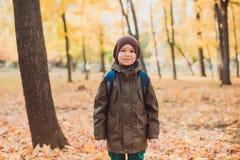 Lycklig ungepojke som går i parkera höstbakgrundscloseupen colors orange red för murgrönaleaf fotografering för bildbyråer
