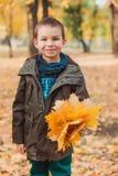 Lycklig ungepojke som går i parkera Massor av gula sidor omkring royaltyfria bilder