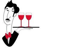 Lycklig uppassare med drinkar Arkivbilder