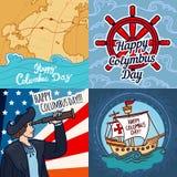 Lycklig uppsättning för baner för columbus dag, hand dragen stil stock illustrationer