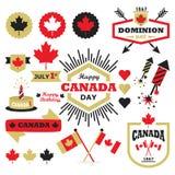 Lycklig uppsättning för beståndsdelar för Kanada dagdesign vektor illustrationer