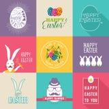 Lycklig uppsättning för etiketter för påsklägenhetdesign stock illustrationer