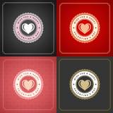 Lycklig uppsättning för kort eller för affischer för valentindaghälsning Royaltyfria Bilder