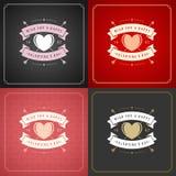 Lycklig uppsättning för kort eller för affischer för valentindaghälsning Arkivfoton