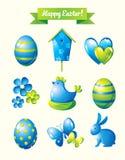 Lycklig uppsättning för påskdesignbeståndsdelar Arkivbilder