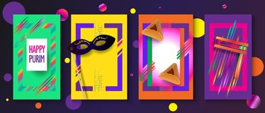 Lycklig uppsättning för Purim festivalinbjudan royaltyfri illustrationer