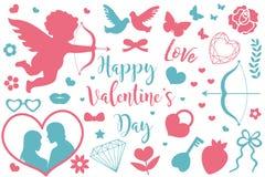 Lycklig uppsättning för symbol för dag för valentin` s av stencilkonturer Gullig romansk förälskelsesamling av designbeståndsdela stock illustrationer