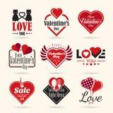 Lycklig uppsättning för symbol för valentindagvektor stock illustrationer