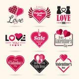 Lycklig uppsättning för symbol för valentindagvektor royaltyfri illustrationer