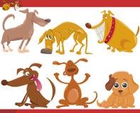 Lycklig uppsättning för hundkapplöpningtecknad filmillustration Arkivbilder