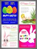 Lycklig uppsättning för mallar för reklamblad för easter vektorillustration av nyfödd chiс ken och kanin, färgrika ägg, kontur a Fotografering för Bildbyråer