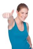 lycklig uppvisning tumm upp kvinna arkivfoton