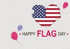 Lycklig USA flaggmärkesdag Amerikanskt hjärtasymbol Royaltyfria Bilder