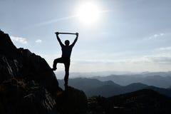 Lycklig utforskare på berget royaltyfri fotografi