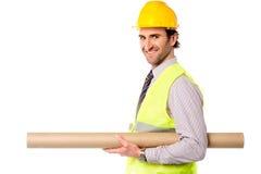 Lycklig väg-och vattenbyggnadsingenjörinnehavritning Fotografering för Bildbyråer