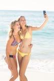 Lycklig vän som gör selfie med smartphonen royaltyfri bild
