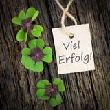 Lycklig växt av släkten Trifolium, etikett Fotografering för Bildbyråer