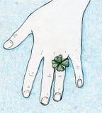 Lycklig växt av släktet Trifoliumcirkel för fyra blad Royaltyfri Bild