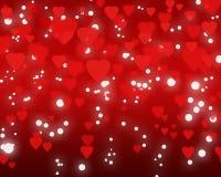 Lycklig valentin dagbakgrund med röda hjärtor Arkivfoton