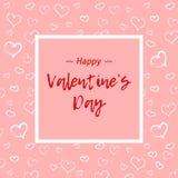 Lycklig valentin dagdesign Svart bakgrund med röda hjärtor Gräns med text och ballonger Gifta sig över affischen Arkivfoto
