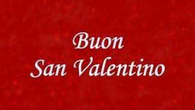 Lycklig valentin dagtext i italienare Buon San Valentino på röd bakgrund royaltyfri illustrationer