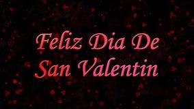 Lycklig valentin dagtext i spanska Feliz Dia De San Valentin på mörk bakgrund Arkivbilder